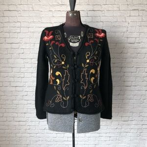 Embroidered alpaca cardigan sweater soft floral